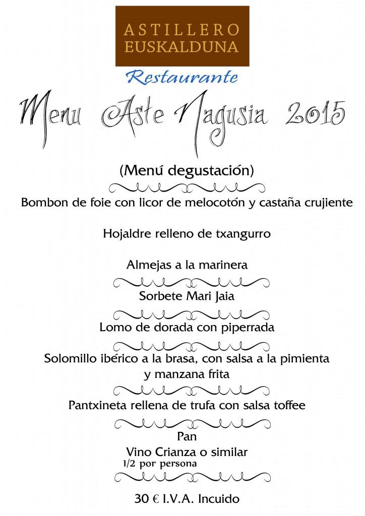 Restaurante Astillero Menú Astenagusia bilbao