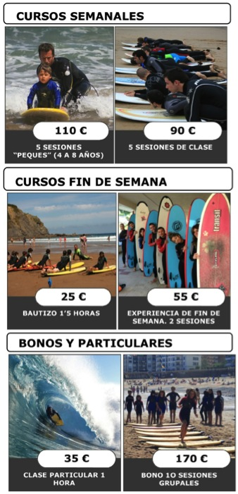 precios bakio ripcurl surf eskola