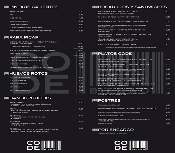 carta code bilbao