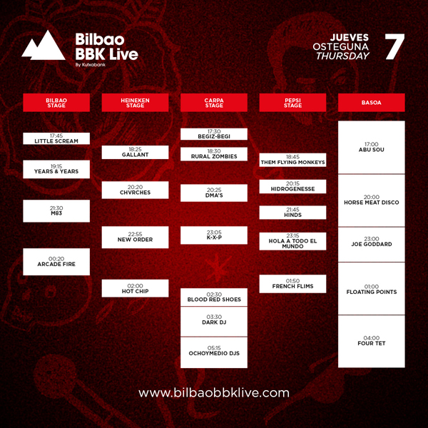 bbk live 2016 horarios jueves