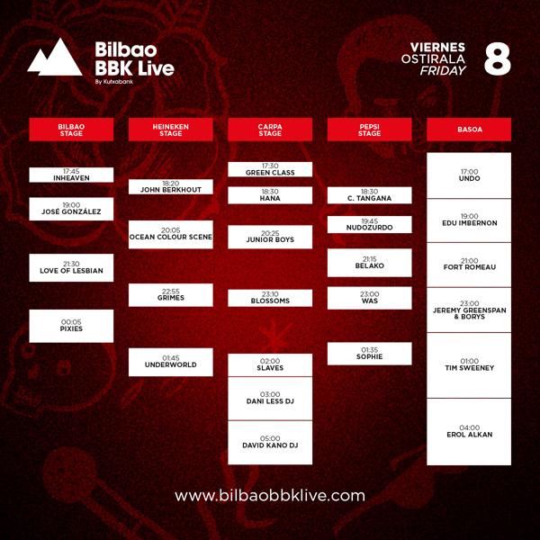 bbk live bilbao horarios